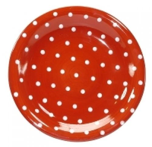 TM33 Teller rot mit weißen Punkten