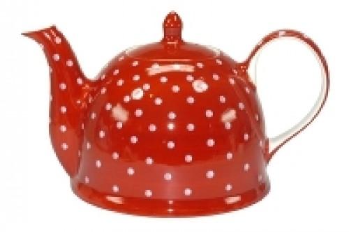 TM30 Teekanne rot mit weißen Punkten