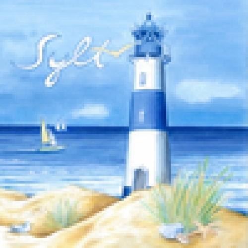 Papierserviette mit schönen Strandmotiv und der Aufschrift Sylt. 33x33 cm , 20St.