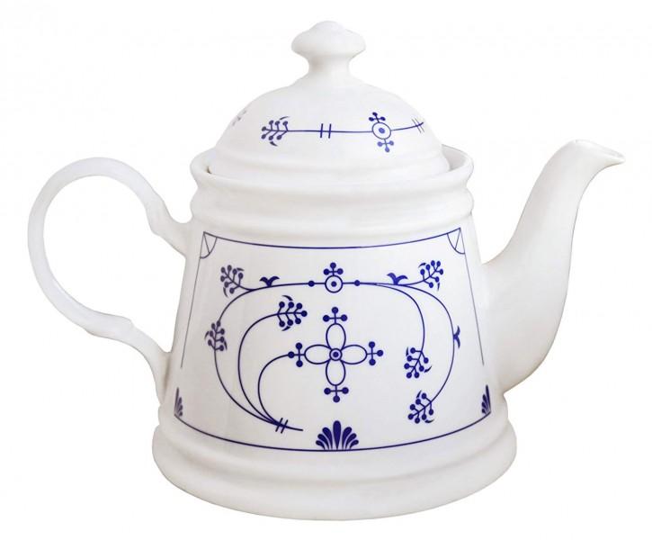 Teekanne, konnisch,  Indisch Blau Design.